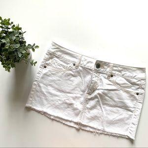 White Jean Mini Skirt Distressed Raw Hem Stretchy